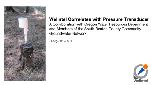 Wellntel Correlates with Pressure Transducer A Collaboration with Oregon Water Resources Department and Members of the South Benton County Community Groundwater Network